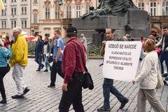 Demonstracja przeciw islamizacja Europa, Praga, czech Repu Obrazy Royalty Free