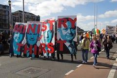 Demonstracja w Dublin wewnątrz na 21 (Irlandia) 03 2015 Zdjęcia Stock