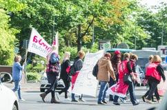 Demonstracja w Niemieckich ośrodkach opieki dziennej i dziecinach th Fotografia Royalty Free