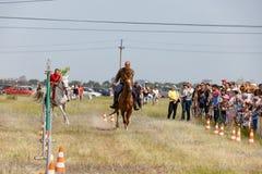 Demonstracja występy Kozacki equestrian klub sportowy z używają bronie palne obraz royalty free