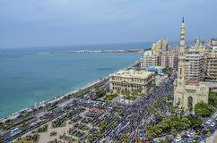 Demonstracje przed lidera Ibrahim meczetem w Aleksandria Fotografia Royalty Free