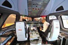 Demonstrador da cabina do piloto de Airbus A350-900 XWB Imagem de Stock