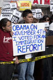 Demonstradores da visita de Obama Imagens de Stock Royalty Free