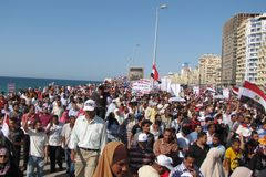 Demonstradores dos egípcios que chamam para a reforma Fotos de Stock Royalty Free