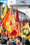 Demonstranci protestuje przeciw Tureckiemu prezydentowi Erdogan Zdjęcia Royalty Free