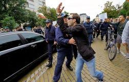 Demonstrantpolisen 99 procent Arkivbild