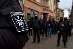 Demonstrantrückrufhelden von Karpaten-Ukraine in Uzhhorod Lizenzfreie Stockfotografie