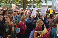 Demonstrants of different ages gathering during Global Climate Strike