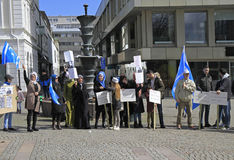 Demonstrants on one of central squares in Malme, Sweden Stock Photography