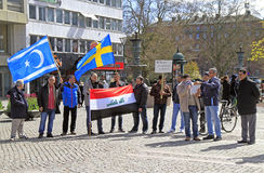 Demonstrants on one of central squares in Malme, Sweden Stock Photos