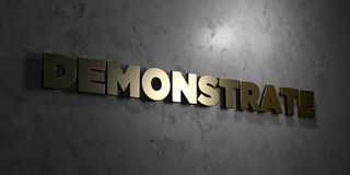 Demonstrate - Gold text on black background - 3D rendered royalty free stock picture. This image can be used for an online website banner ad or a print Royalty Free Stock Image