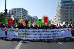 Demonstratie in Berlijn op Meidag Royalty-vrije Stock Afbeelding