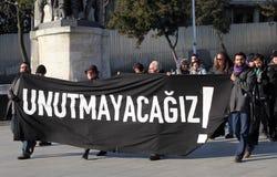 Demonstratie bij de moord van de Journalist stock afbeeldingen