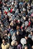 Demonstratie bij de moord van de Journalist royalty-vrije stock foto's