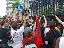Demonstratie bij Poorten van Westminster Stock Foto