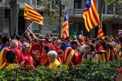 Demonstratie in de vorm van Barcelona fridoom van Catalonië Stock Foto