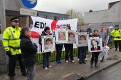 Demonstratie EDL in Blackburn Stock Afbeeldingen