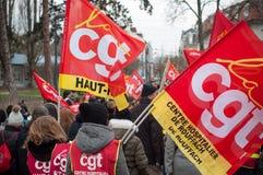 Demonstratie om de rechten van ambtenaren te verdedigen stock foto's