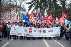 Demonstratie om de rechten van ambtenaren te verdedigen stock afbeelding