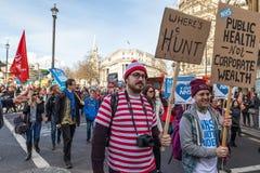 Demonstratie om NHS te redden Stock Foto's
