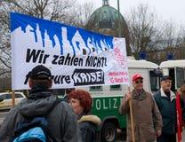 Demonstratie op 28 Maart 2009 in Berlijn, Duitsland Stock Foto