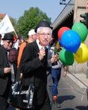 Demonstratie op Meidag in Berlijn Stock Foto