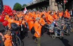 Demonstratie op Meidag in Berlijn Royalty-vrije Stock Foto's
