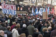 Demonstratie in Parijs, Frankrijk - 29.01.2009 Royalty-vrije Stock Foto