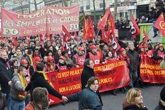 Demonstratie in Parijs, Frankrijk - 29.01.2009 Stock Afbeelding