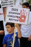 Demonstratie tegen vervolgingen en wreedheden in Irak Stock Fotografie