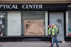 Demonstratie van 'Gilets Jaunes in Parijs, Frankrijk stock foto