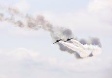 Demonstratie van de lucht de militaire vlucht stock afbeelding