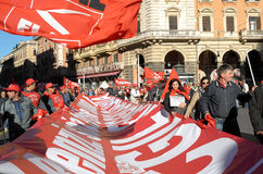 Demonstratie van de vakbonden in Rome Royalty-vrije Stock Afbeeldingen