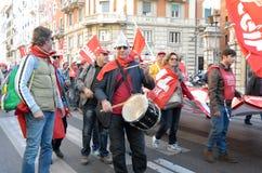 Demonstratie van de vakbonden in Rome Stock Afbeelding