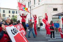 Demonstratie van de vakbonden in Rome Stock Foto's