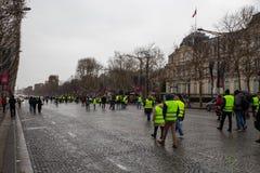Demonstratie van 'Gilets Jaunes in Parijs, Frankrijk stock fotografie