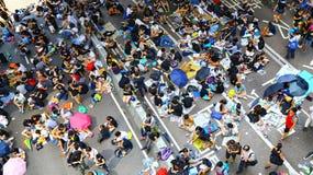 Demonstratiesystemenafstand houden in admiraliteit, Hongkong 2014 Stock Foto's