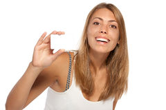 Demonstrating a credit card Stock Image