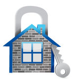 Demonstrating home security Stock Photo