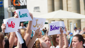 Demonstrating for Justin Bieber Stock Photography