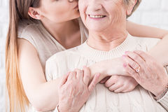 Demonstrating love and support for her beloved granny Royalty Free Stock Photography