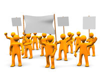 Demonstration. Many orange cartoons during the demonstration Royalty Free Stock Photography