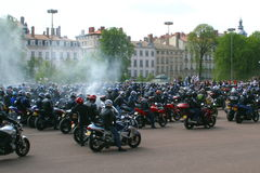 Demonstration. Motorcyclists demonstration at lyon in france Royalty Free Stock Photo