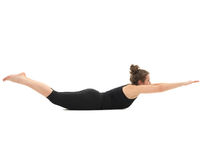 Demonstration of advanced yoga posture Royalty Free Stock Photography