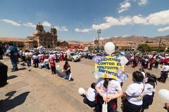 Demonstration against children abuse in Cusco, Peru. Stock Image