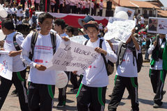 Demonstration against children abuse in Cusco, Peru. Stock Photos