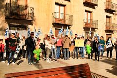 Demonstration against cuttings of sanitary personnel in Elche. Elche, Alicante, Spain- December 1, 2018: People with banners in demonstration against cuttings of royalty free stock image