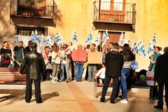 Demonstration against cuttings of sanitary personnel in Elche. Elche, Alicante, Spain- December 1, 2018: People with banners in demonstration against cuttings of royalty free stock photo