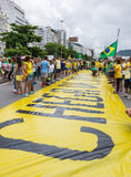 Demonstration against the government in Copacabana, Rio de Janeiro Stock Image
