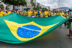 Demonstration against the government in Copacabana, Rio de Janeiro Royalty Free Stock Photo